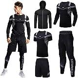 Uomini Abbigliamento Allenamento Abbigliamento Fitness Palestra Outdoor Running Pantaloni di Compressione Camicia Top Manica Lunga Giacca 4 PZ o 5 pz - nero - XL