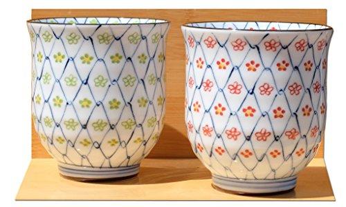 2 tazas de té japonesas de cerámica con cadena de margaritas
