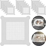 5.7 Inch Disposable Hair Catcher Shower Drain Hair Catcher Mesh Stickers Drain Cover Square Hair Drain Cover Bathtub Stopper with 5 mm Holes for Bathroom Kitchen Sink Mesh Filter (50)