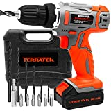Terratek 13Pc Cordless Drill Driver 18V/20V-Max Li-Ion Combi Drill in Carry Case, Electric Screwdriver, Accessory Kit, LED Work Light, Quick Change Battery & Charger Included