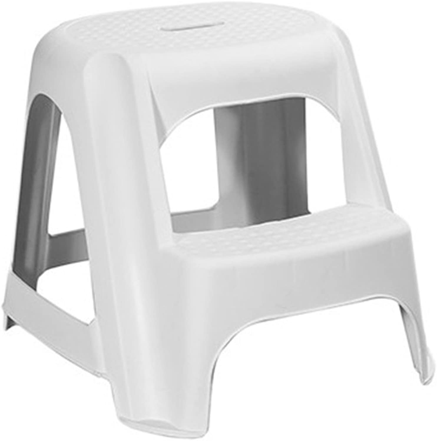 GAIXIA-Ladder stool Step Stool Multi-Function 2 Layer Portable Non-Slip Padded Footrest Environmental Predection PP Material 2 color Height 48cm (color   White)
