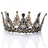 Catery Black Baroque Tiaras and Crowns Crystal Flower Bride Wedding Crowns Vintage Decorative Bride Queen Tiaras Hair Accessories for Women and Girls 商品カテゴリー: ヘアアクセサリー [並行輸入品]