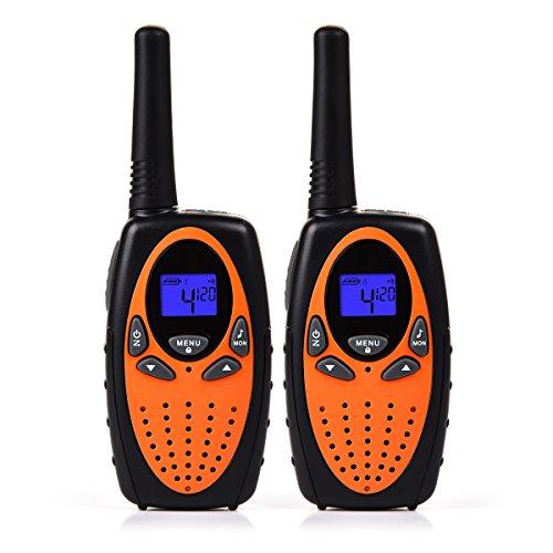 Funkprofi Walkie Talkie Set für Kinder PMR Funkgerät 8 Kanäle 2-Wege Radio Funkhandy Interphone mit LCD Display 2 Stück Orange