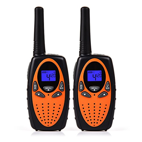 Funkprofi Walkie Talkie Set für Kinder PMR Funkgerät 8 Kanäle 2-Wege Radio Funkhandy Interphone mit LCD Display 2 Stück Orange
