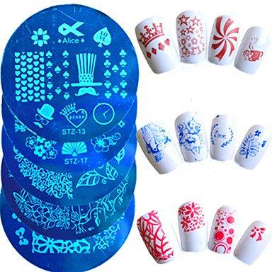 MZP 1pcs chaud vente mode plaque d'estampage nail art belle pochoirs manucure belle conception de coeur de bande dessinée fleur papillon pour , 13#