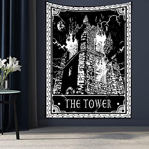 PPOU Tarot Card Tapiz Colgante de Pared Astrología Adivinación Colcha Estera de Playa Dormitorio Sala de Estar Decoración General del hogar A9 73x95cm