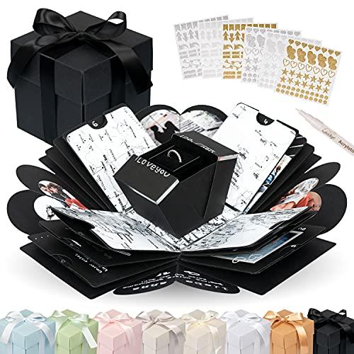 weddlyn® – Überraschungsbox – hochwertiges Papier & Verarbeitung – Explosionsbox mit modernen Stickern und Stift – Kreativ Box – Explosionsbox Geburtstag inkl. Anleitung – schwarz (matt)