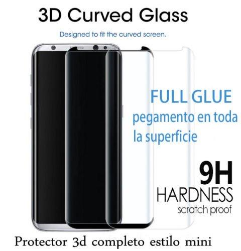 MUNDDY Protector Cristal Templado Completo Curvo 3D Full Glue (Pegamento Completo) para Samsung S8. Vidrio Cristal Templado 3D Dureza 9h para Samsung S8 (Negro Estilo Mini) NO Cubre Toda LA Pantalla