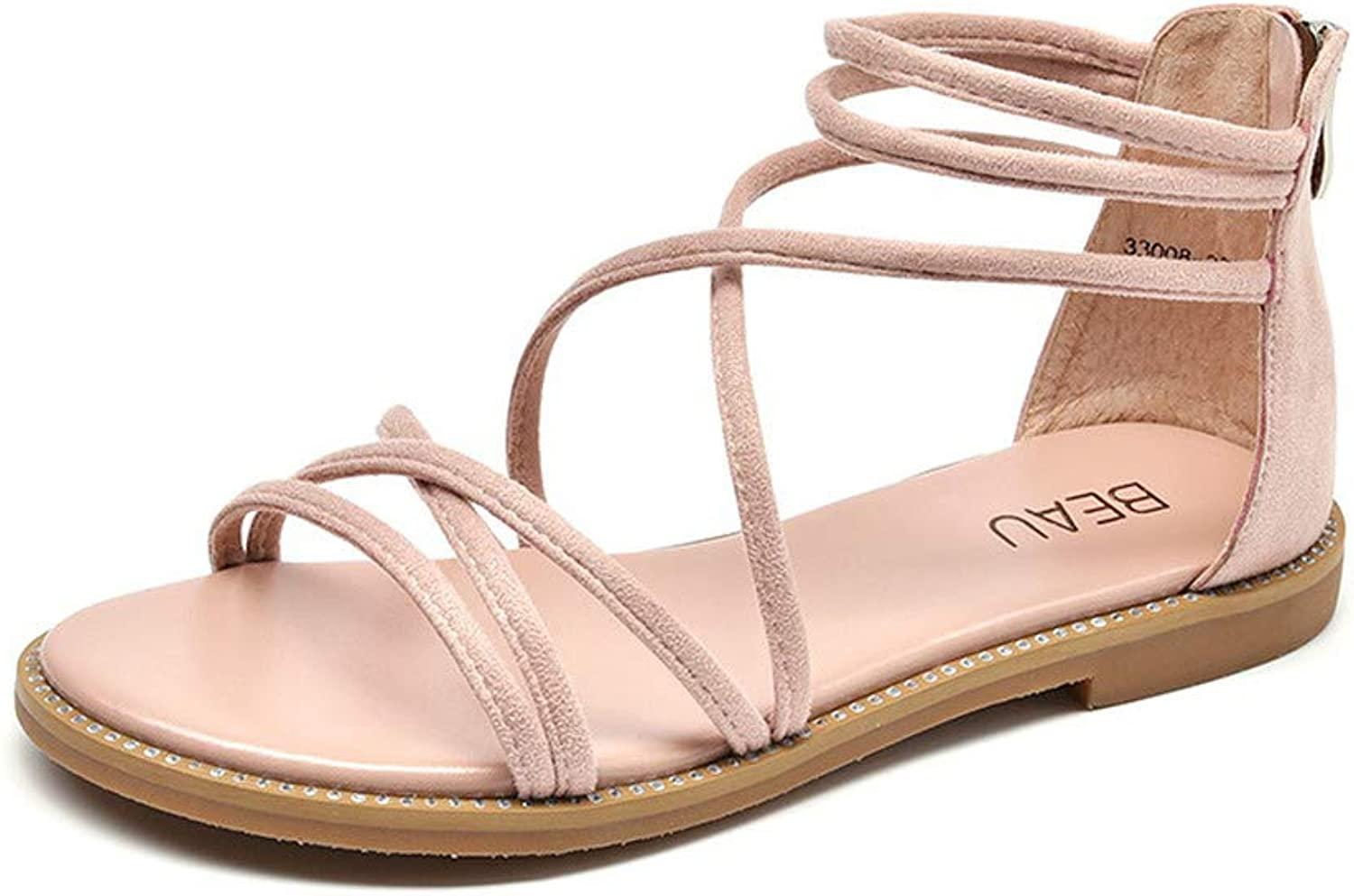 Pophight Women Flat Sandals Gladiator Sandals Roman Cross Strappy Ankle Strap Open Toe Leather Summer Casual Sandals