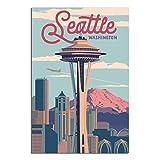 Vintage National Park Poster Seattle Schlafzimmer