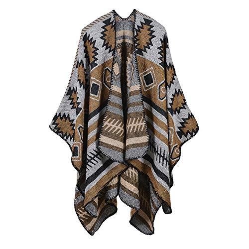 E-House Swaddling Dekens Fleece Bed Deken Zachte Lichtgewicht Vrouwen Geometrische Patroon Sjaal Mantel Lange Poncho Cape Outwear Jas Sjaal Deken - Navy Blauw Geel