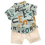 YWLINK Traje Bebé, Conjunto De Bebé NiñO De Verano, 2 Piezas, Camiseta con Letras del Alfabeto IngléS+ PantalóN Corto De AlgodóN A Color SóLido para 12mes- 4 AñOs