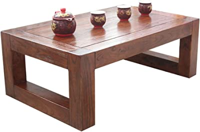 Solid Wood Bay Window Table Living Room Small Coffee Table Retro Low Table Simple Balcony Small Table Ground Coffee Table Laptop Table (Color : Brown, Size : 60 * 40 * 25cm)