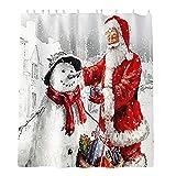 FutuHome Weihnachts-Duschvorhang-Set, Weihnachtsmotiv Schneemann & Weihnachtsmann, für das Badezimmer, Dekoration, Stoffbade-Accessoires, 182,9 x 182,9 cm