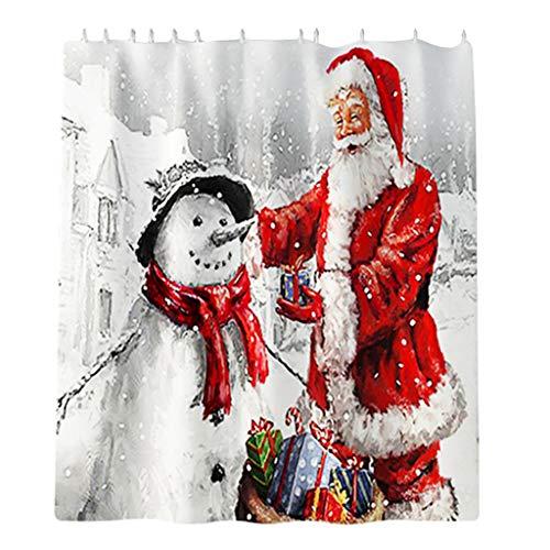 FutuHome Weihnachts-Duschvorhang-Set, Weihnachtsmotiv Schneemann und Weihnachtsmann, für das Badezimmer, Dekoration, Stoffbade-Accessoires, 182,9 x 182,9 cm