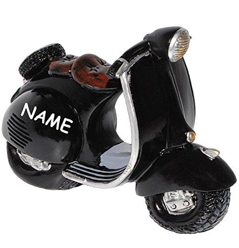 alles-meine.de GmbH Spardose -  Roller / Motorrad - SCHWARZ  - incl. Name - stabile Sparbüchse aus Kunstharz - Fahrzeug Sparschwein lustig witzig - Krad Modell / Moped - Autos ..
