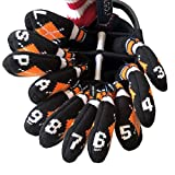 HUGELOONG Knit Golf Iron Head Covers Set 11-Piece(3~L)-Head Covers with Numbers on Top&Side (Orange) …