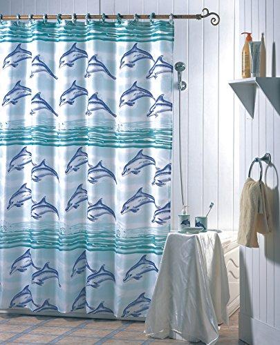"""MSV Anti-Schimmel Duschvorhang - Anti-Bakteriell, waschbar, wasserdicht, mit 12 Duschvorhangringen - Polyester, """"Delfine"""" 180x200cm"""