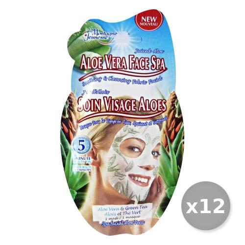Montagne Jeunesse Set van 12 maskers, stof aloë vera-Te Verde x 1 stuks gezichtsreiniging meerkleurig