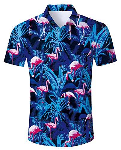 RAISEVERN Camisas Hawaianas para Hombre, Camisas Estampadas con Estampado de Flores flamencas de Manga Corta, Camisa Casual de Negocios Ajustadas, Blusas Grandes