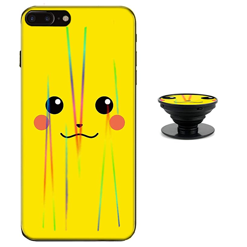 Pikachu Case for iPhone 8 Plus 7 Plus Protective Case Aurora Color Soft TPU Compatible iPhone 8 Plus Cover with Phone Holder Bracket