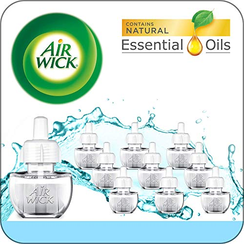 Air Wick Plug in Scented Oil 10 Refills, Fresh Waters, Eco Friendly, Essential Oils, Air Freshener