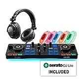 Hercules DJ Party Set: Ultra-compact, 2-deck DJControl Starlight USB DJ controller for Serato DJ Lite, HDP DJ45 headphones, 5 beat-detecting LED wristbands.