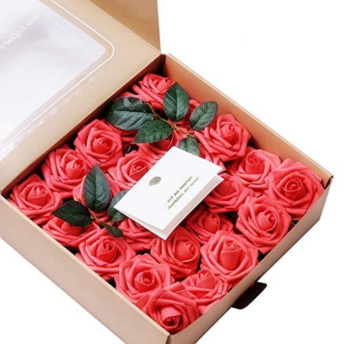 Wffo Flores Artificiales de Aspecto Real, 50 Rosas Falsas con Tallo para Bricolaje, Ramos de Boda, centros de Mesa, decoración para Fiesta de Despedida de Soltera, decoración del hogar