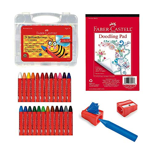 Faber-Castell Back to School Beeswax Crayon Coloring Set - 24 Beeswax Crayons, Crayon Sharpener & Doodle Pad, Multi (FC14339)