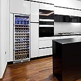 Klarstein Vinovilla Grande - Weinkühlschrank, Getränkekühlschrank, 425 Liter, 13 Holzeinschübe, Touch-Bediensektion, LED-Innenbeleuchtung, Weinglashalterung, Anti-Vibrationssystem, schwarz - 4