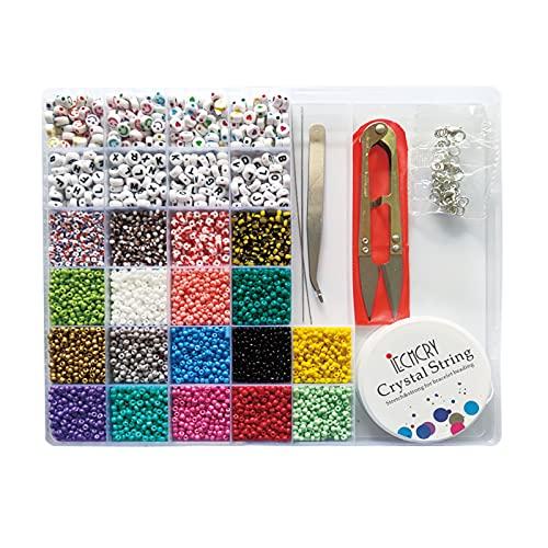Set di perline in vetro, perline a forma di lettere, per braccialetti e gioielli, 3 mm
