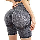 High Waisted Yoga Shorts for Women Tummy Control Leggings Butt Lifting Textured Workout...