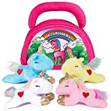 Plush Creations Plush Unicorn Toy Set   Includes 4 Talking Soft Unicorns   Pink, Blue, White, and Yellow Unicorn with A Plush Pink Carrier   Great for Baby and Toddler Girls