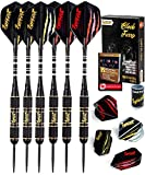 IgnatGames Steel Tip Darts Set - Professional Darts with Aluminum Shafts, Rubber O'Rings, and Extra Flights + Dart Sharpener + Innovative Case + Darts Guide (20g Black Furry)