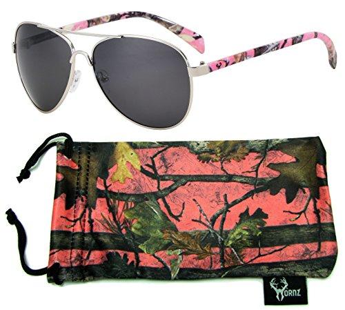 Hornz Rosa Camuffamento polarizzati Occhiali da Sole Aviator per Le Donne e coincidenti con Microfibra Pouch – Medie e Grandi Dimensioni Volto - Telaio Camo Rosa - Lente Fumo