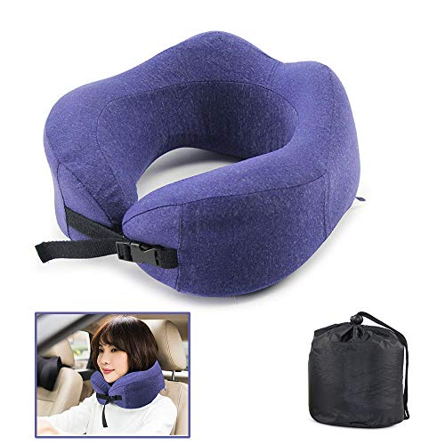 JOYTEK Best Travel Pillow 100% Pure Memory Foam Neck Pillow for Airplanes Washable Zippered Case Cover,Travel Neck Support Pillows Blue