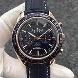 HNOLVH Neue Herren Automatik Mechanische Uhren Speed Schwarz Blau Leder Leinwand Leuchtende Mondphase Uhr Dunkle Keramik Lünette 8