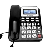 Teléfono con cable Teléfono fijo con altavoz Grabador de voz, Pantalla de identificación de llamadas, Botones grandes, Modo silencio, Interfaz dual, Función de calculadora para Inicio/Oficina (negro)