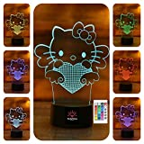 SerkyHome 3D Illusion Night Light for Kids 7 Colors with Remote-Led Table Lamp(Hello Kitty)