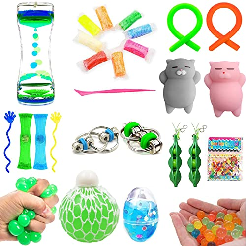 Bundle Sensory Fidget Toys Set-Liquid Motion Timer/Grape Ball/Soft Egg Slime/Flippy Chain/Stretchy...