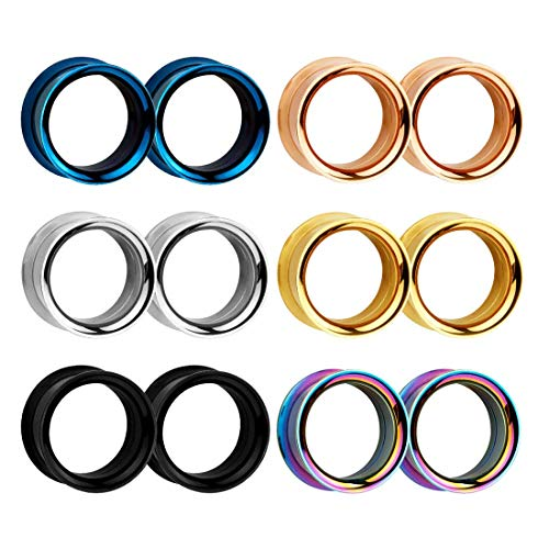 Ohr Flesh Tunnel Plug Set 6mm-20mm - HuaCan 12 Stück Ohr Expander Piercing Double Flared Edel Stahl Punk