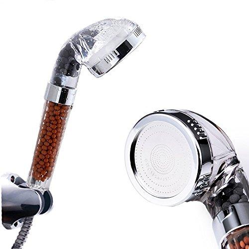 Ohpa 30% di acqua Soffione doccia ionico, con doccetta manuale, con 200% turbocompresso pressione e consumo di filtraggio a sfera per capelli & Dry '