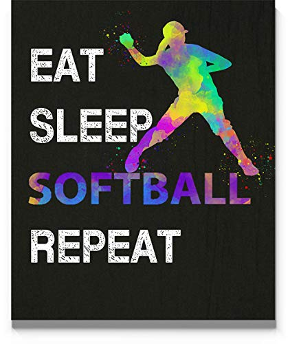 Eat Sleep Softball Repeat Wall Art, 11x14 inch Print, Great Gift Idea for Softball Players, Coach and Fans