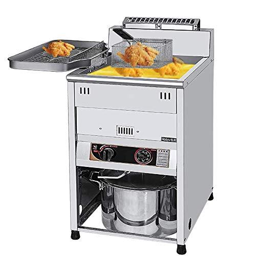 HYYK Kommerzielle Fritteuse 30L Edelstahl Konstante Temperatur Gasfriteuse mit Temperaturregelung für den privaten und gewerblichen Gebrauch