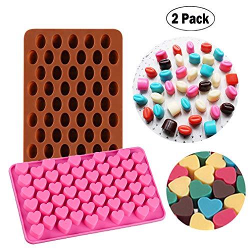 KBstore 2 Pack Moldes de Bombones de Silicona - Forma de Corazon Frijol Molde de Silicone para Chocolate/Caramelo de Café/Cubo de Hielo/Gelatina/Mini Jabon #3