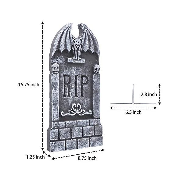 JOYIN 43 cm 5 Decorazioni di Halloween RIP in Pietre Tombali Cimitero in Schiuma e 12 Puntali in Metallo Bonus per Decorazioni in Cortile 6 spesavip