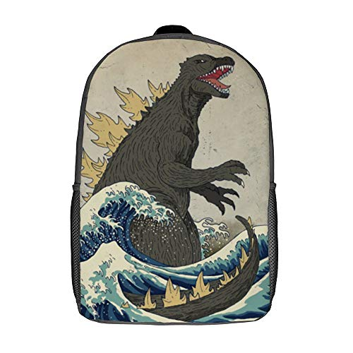The Great Godzilla Off Kanagawa Polyester Backpack For School Travel Daypack for Boys Girs Men Women