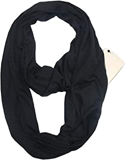 Women's Fashion Infinity Scarf Infinity Travel Scarf with Zipper Pocket Solid Color Scarves
