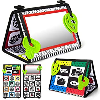 teytoy Tummy Time Floor Mirror Double High Contrast Activity Developmental Black and White Baby Toys for Infants Newborn Boys and Girls Sensory Toy