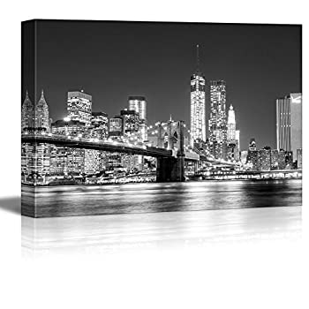 wall26 - Canvas Prints Wall Art - The Manhattan Skyline and Brooklyn Bridge at Night in Brooklyn New York | Stretched Gallery Canvas Wrap Giclee Print Ready to Hang - 32x48